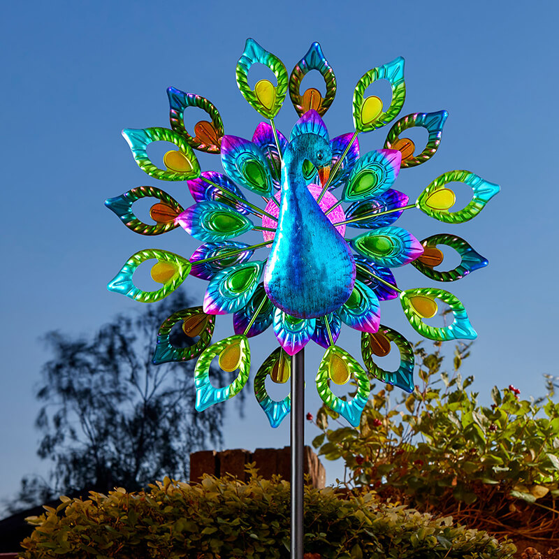 Peacock Windspinner with Solar Crackle Ball