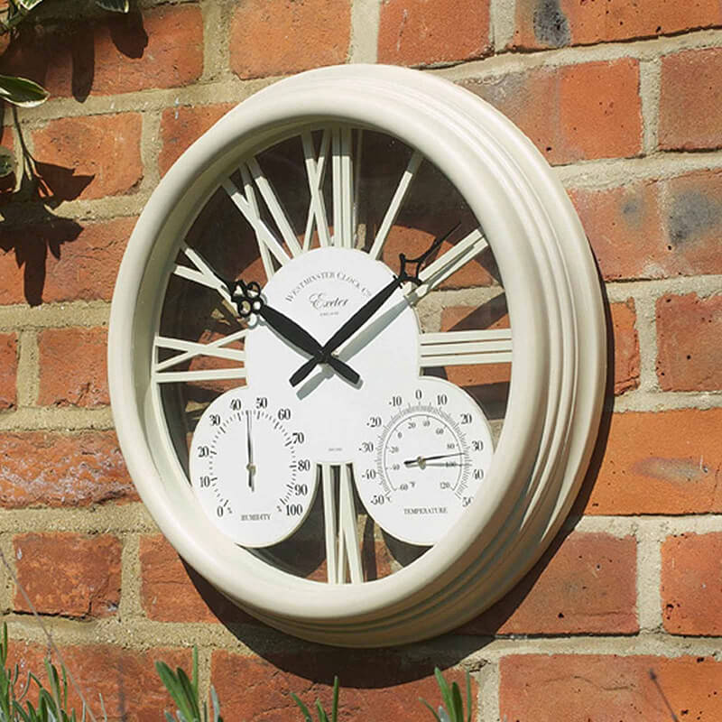 Exeter Cream Clock & Thermometer 15""