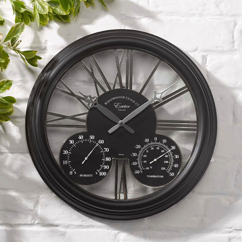 Exeter Black Clock & Thermometer 15""