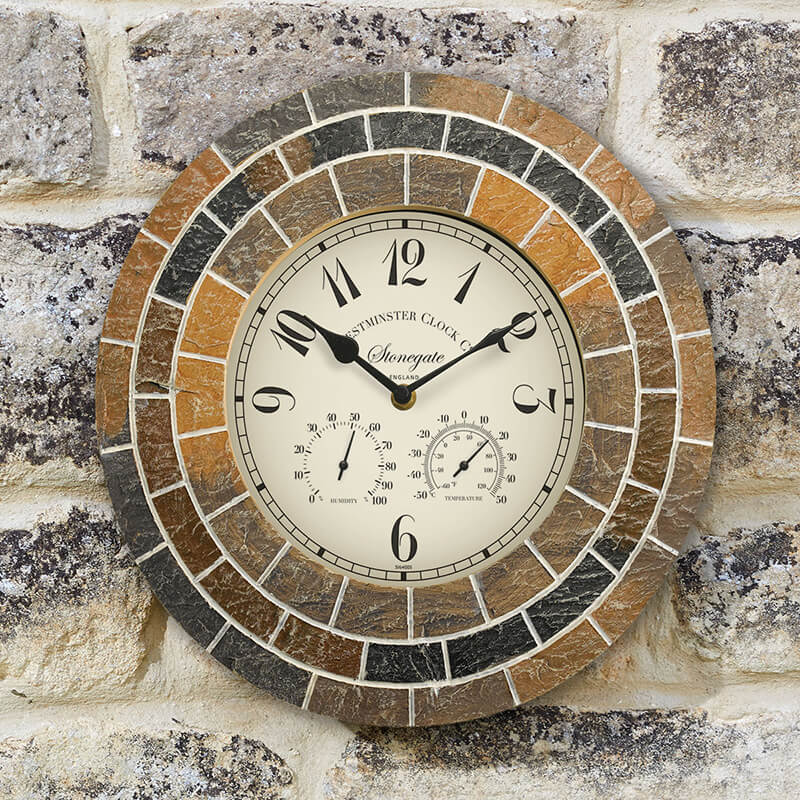 Stonegate Mosaic Clock & Thermometer 14""