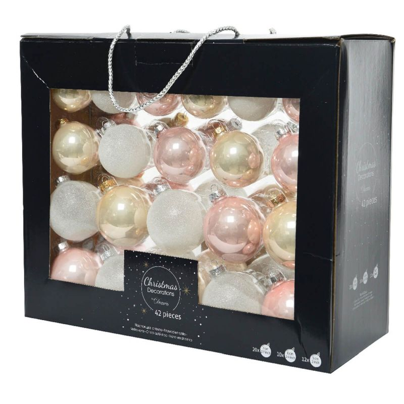 42 Boxed Glass Baubles Blush Pink