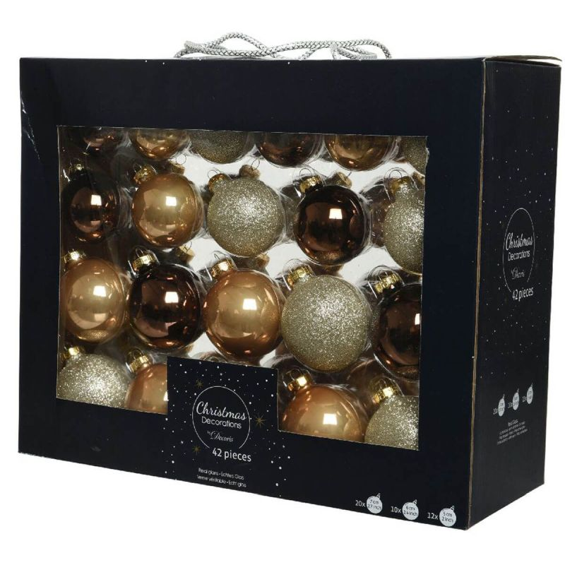 42 Boxed Glass Baubles Champ Glitter