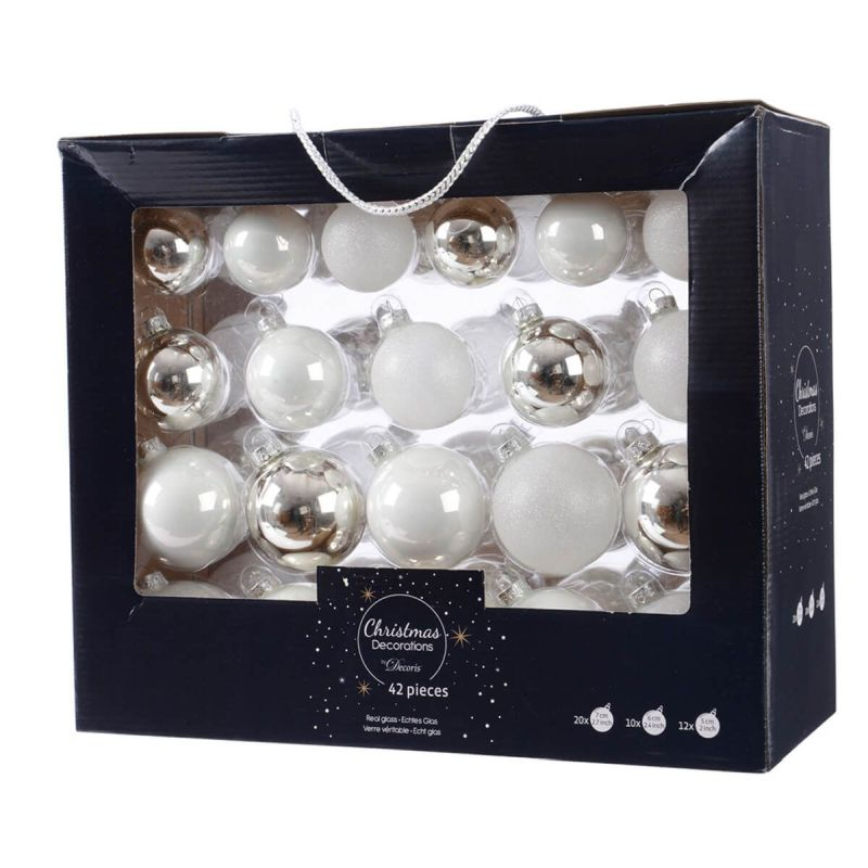 42 Boxed Glass Baubles White Glitter