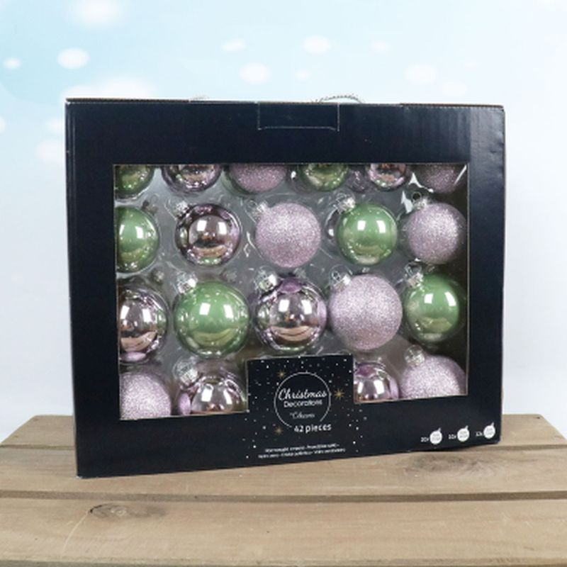 42 Boxed Glass Baubles Sage Green
