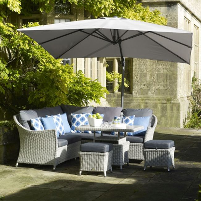 Lichfield 2.7 x 2.7m Square Side Post Parasol including Grey Protective Cover - Grey