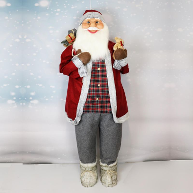 182cm Standing Santa in Grey with Red Hat