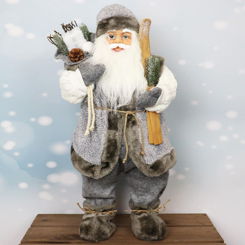 61cm Standing Santa with Skis
