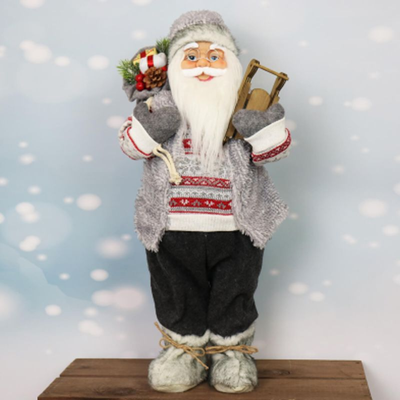 61cm Standing Santa in Grey