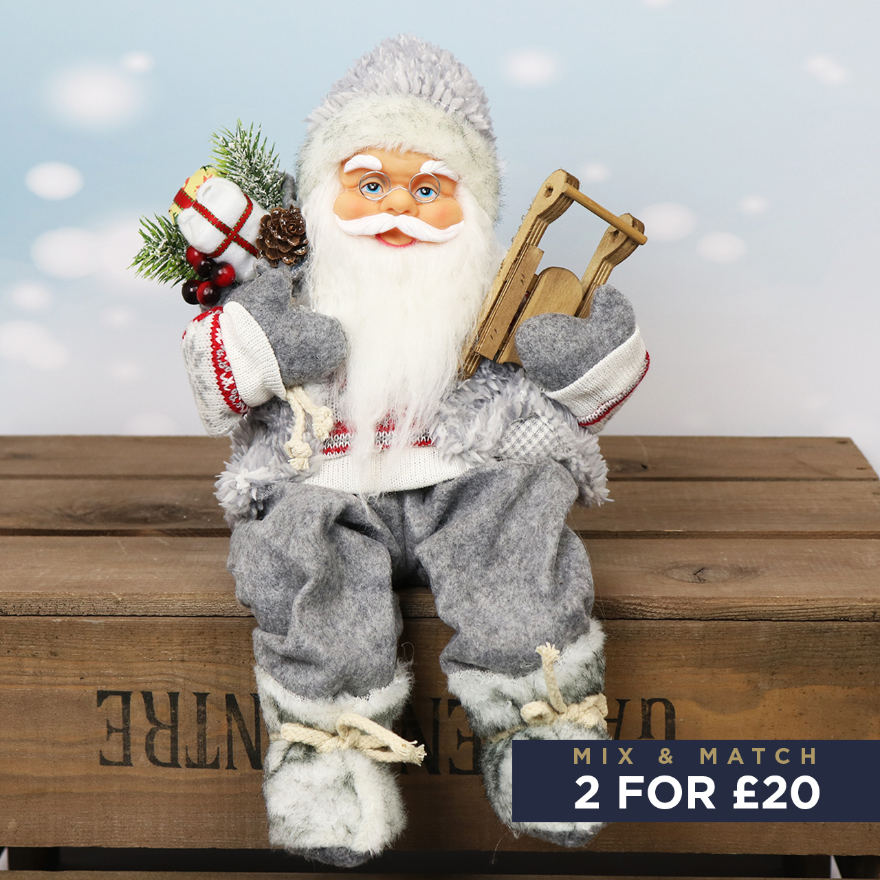 41cm Sitting Santa in Grey