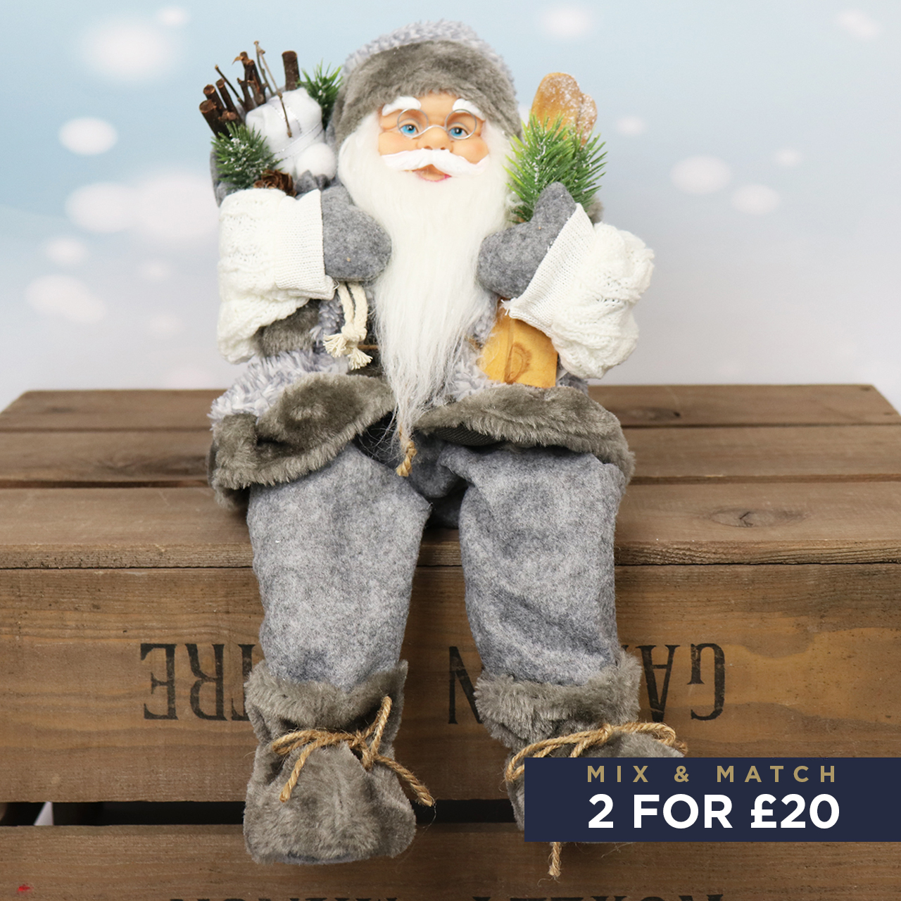 41cm Sitting Santa with Skis