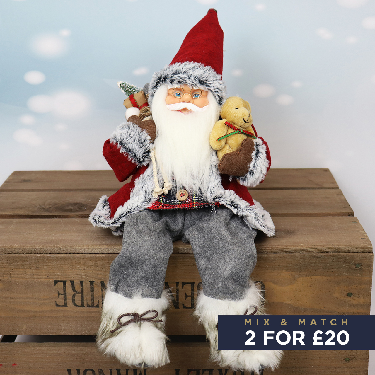 41cm Sitting Santa in Grey with Red Hat