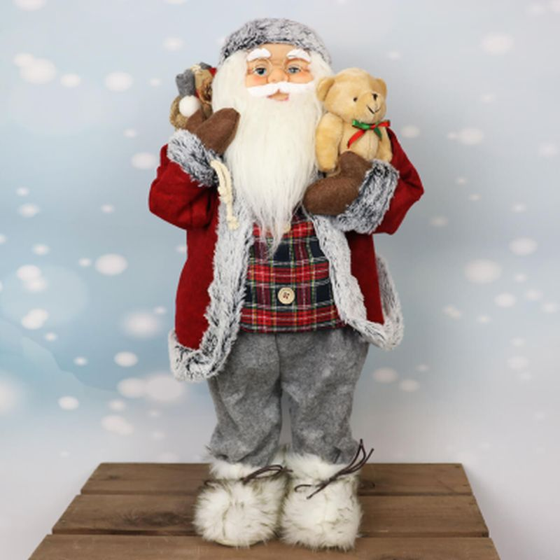 61cm Standing Santa in Grey with Red Hat