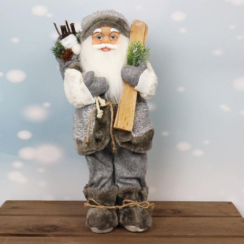41cm Standing Santa with Skis