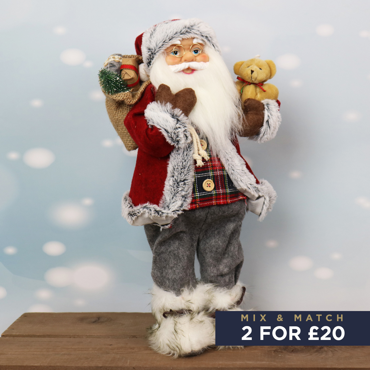 41cm Standing Santa in Grey with Red Hat