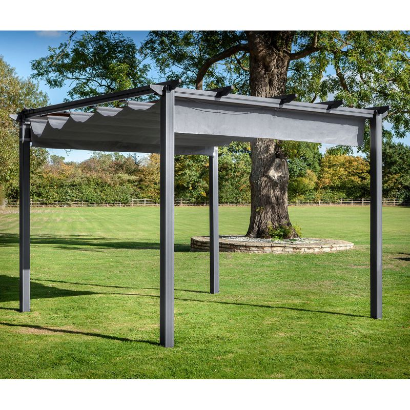 3x3m Square Roma Pergola with Side Curtains