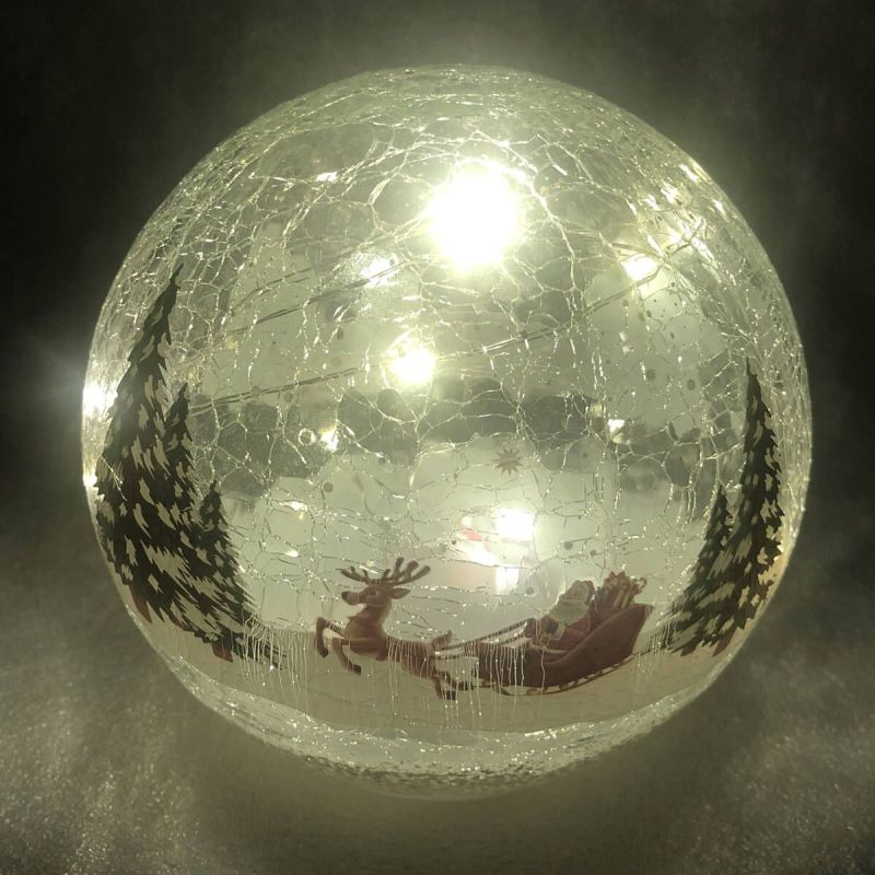 15cm Crackle Santa Ball